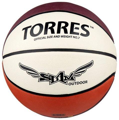 Мяч баск. TORRES Slam р. 7, резина, бежево-бордово-оранж B00067
