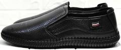 Черные туфли мужские мокасины с перфорацией кэжуал стайл Ridge Z-291-80 All Black.