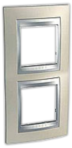 Рамка на 2 поста, вертикальная. Цвет Опал-алюминий. Schneider electric Unica Top. MGU66.004V.095