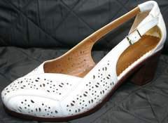 Туфли женские на низком каблуке Marani Magli 031 405 White.