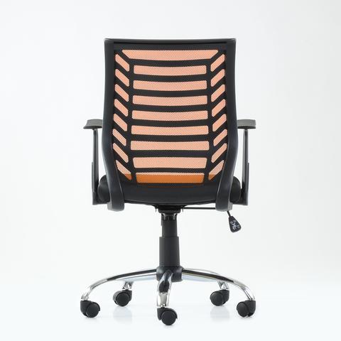 Кресло офисное Gefool (для персонала, компьютерное), регулировка высоты, на колесиках, с подлокотниками, оранжевая сетка