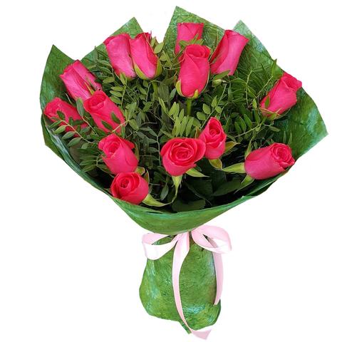 Букет из 15 роз малиново-розовых