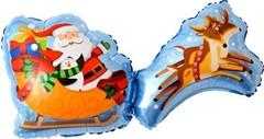 К Фигура, Дед Мороз на санях с оленями, 37''/94см.