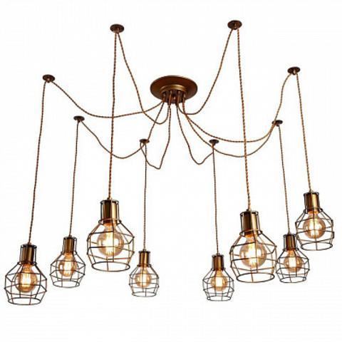 Люстра Паук 8 ламп с абажурами (Бронза) A9182