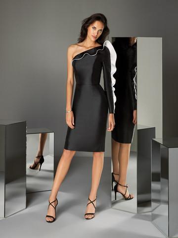 Вечернее платье коктейльное черное с оборками