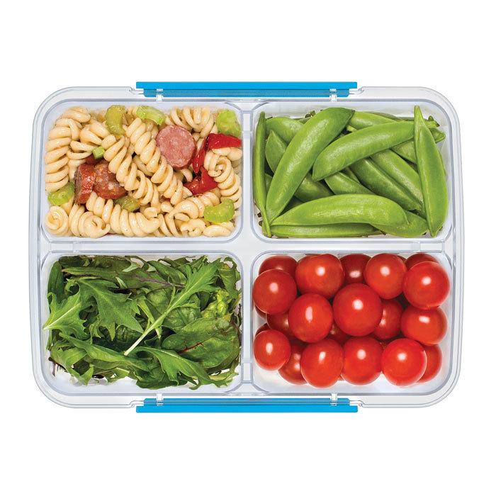 """Контейнер пищевой Sistema """"TO GO"""", 4 секции, 1,74 л, цвет Голубой"""