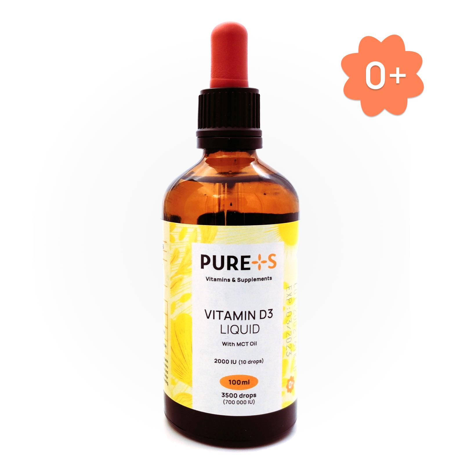 Витамин Д, Vitamin D3, PURE+S, 100 ml