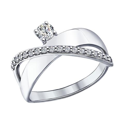 94012093 - Кольцо из серебра с фианитами