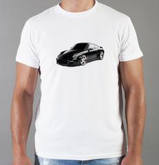 Футболка с принтом Порше (Porsche) белая 003