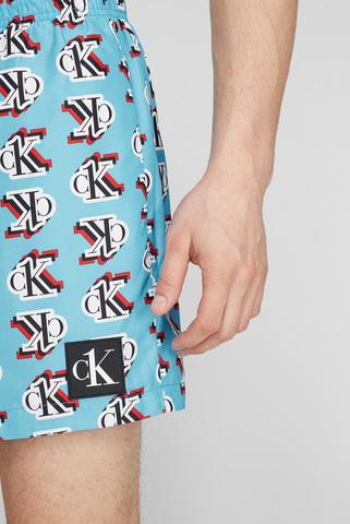 Мужские голубые плавательные шорты MEDIUM DRAWSTRING-PRINT Calvin Klein