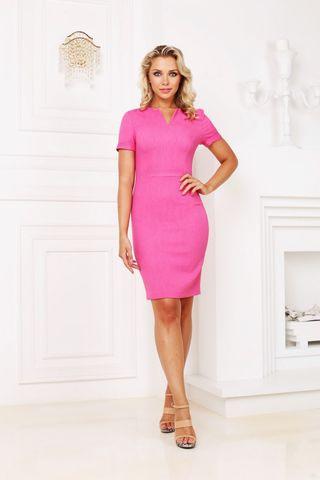 Фото розовое платье футляр с коротким рукавом и v-образным вырезом горловины - Платье З276-568 (1)