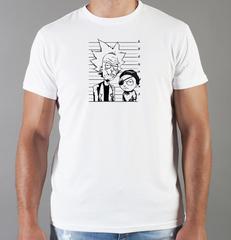 Футболка с принтом мультфильма Рик и Морти (Rick and Morty) белая 008