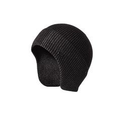 Шерстяная вязаная мужская шапка из кроличьей шерсти (Лыжная теплая шапка) темно-серая