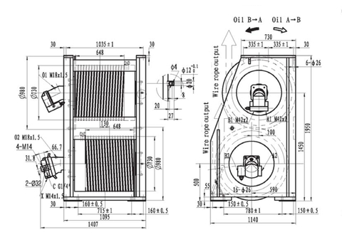 Крановая двойная лебедка IYJ466-200-85-36-ZPG