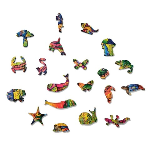 Красочный Хамелеон от Wood Trick - сборные пазлы причудливой формы, это картины, которые вы собираете сами