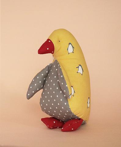 Пингвин- мини желтый, ткань с пингвинами