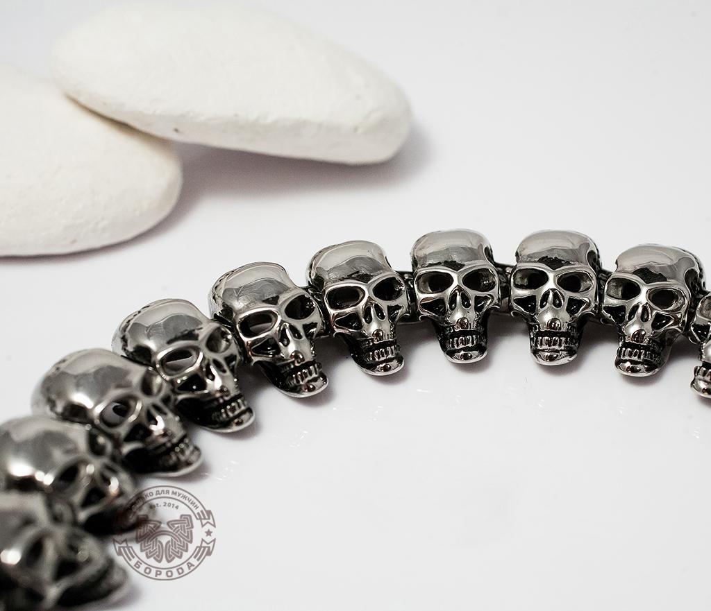 SSBQ-4021 Массивный мужской браслет с черепами из ювелирной стали (21 см) фото 02
