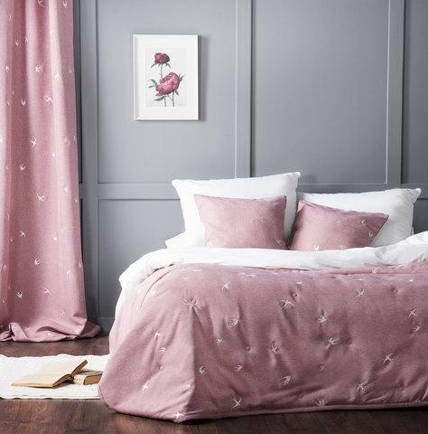 Комплект штор и покрывало Стейн розовый