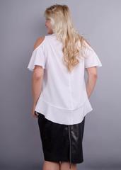 Меринда. Блуза для офиса плюс сайз. Белый.
