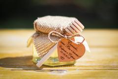 Бонбоньерка с медом на свадьбу с мешковиной, бечевкой и веретеном, 140 грамм