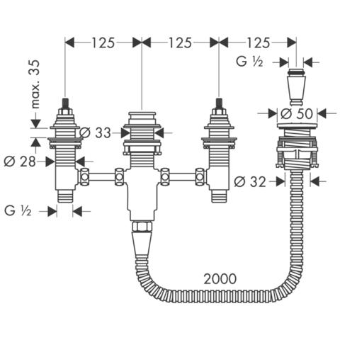 Универсальная скрытая часть смесителя на 4 отв. Hansgrohe 13244180  схема