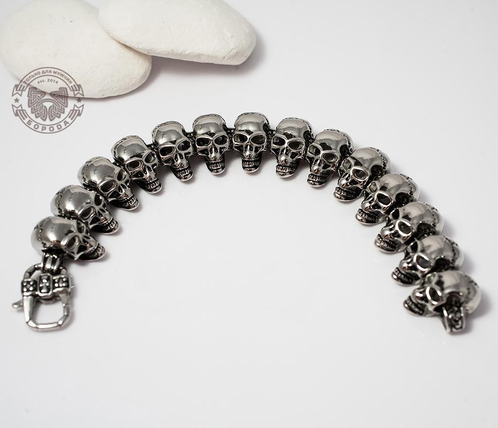 SSBQ-4021 Массивный мужской браслет с черепами из ювелирной стали (21 см) фото 03