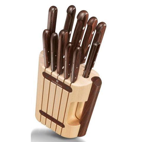 Набор ножей для кухни Victorinox Wood (5.1150.11) 11 шт коричневые в подставке
