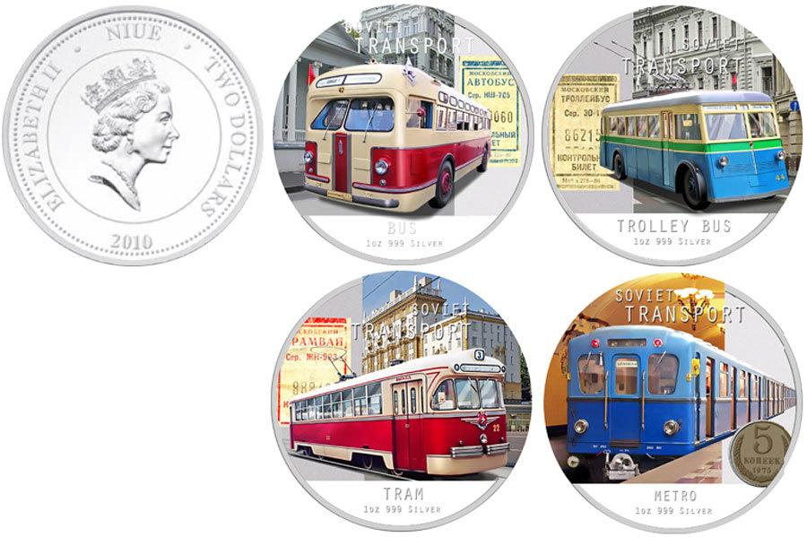 Набор из 4 монет 2 доллара. Советский городской транспорт. Ниуэ. 2010 год