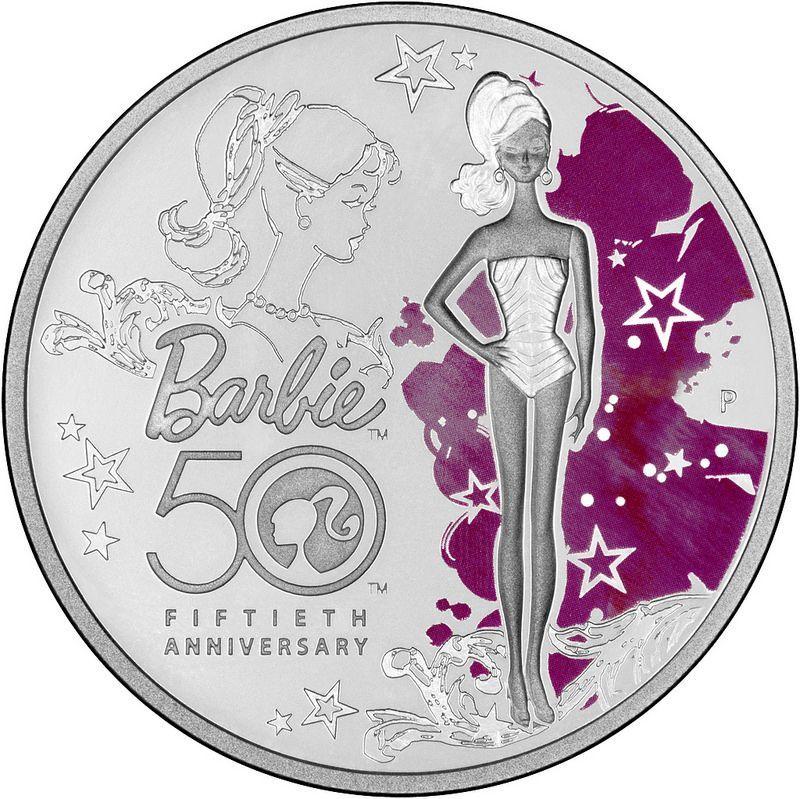 1 доллар. 50-летие создания куклы Барби. Тувалу. 2009 год