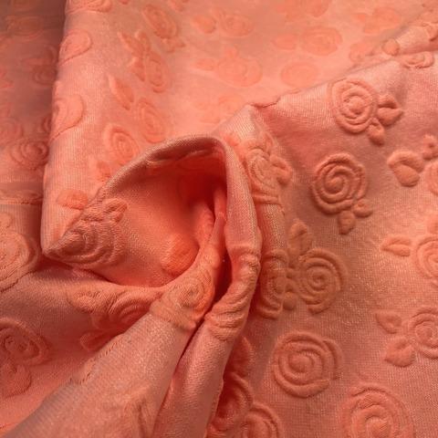 Ткань жаккард оранжевый с цветами  3011