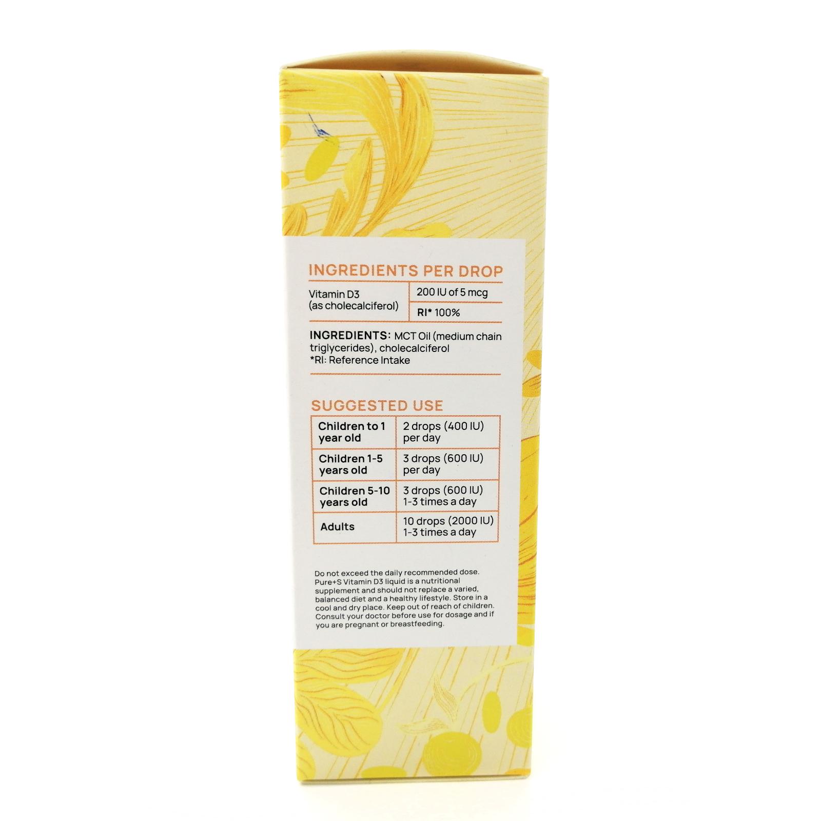 Vitamin D3 MCT Oil, PURE+S, 100 ml-5