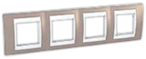 Рамка на 4 поста. Цвет Коричневый/Белый. Schneider electric Unica Хамелеон. MGU6.008.874