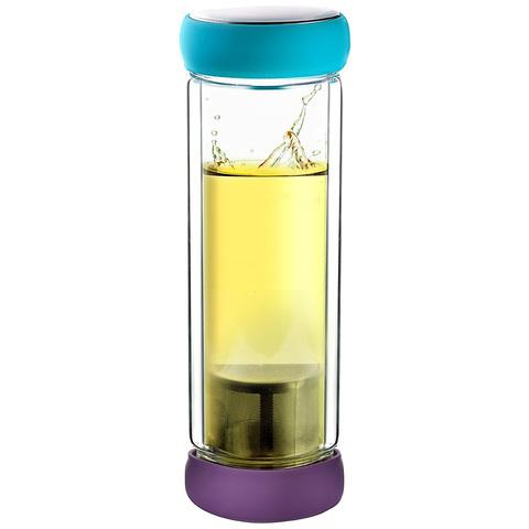 Термобутылка Asobu Twin lid (0,4 литра), голубая/фиолетовая