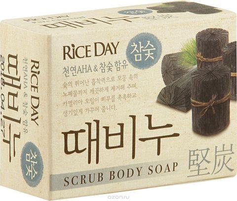 Скраб-мыло туалетное с древесным углем Rice Day 100 гр