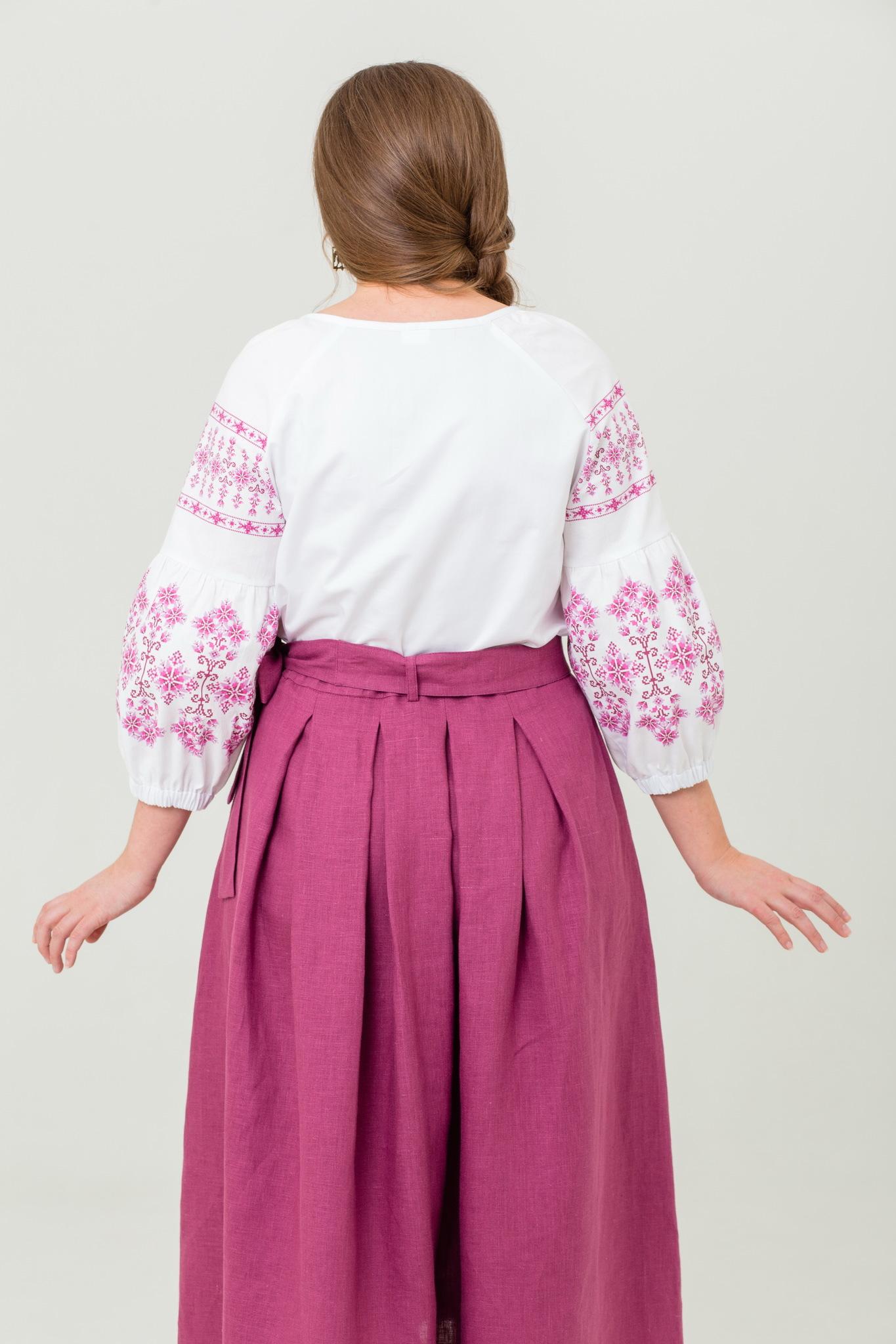 Блуза хлопковая Яблоневый цвет славянский орнамент