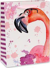 Пакет подарочный с матовой ламинацией 18х23х10 см (M) Любопытный фламинго.