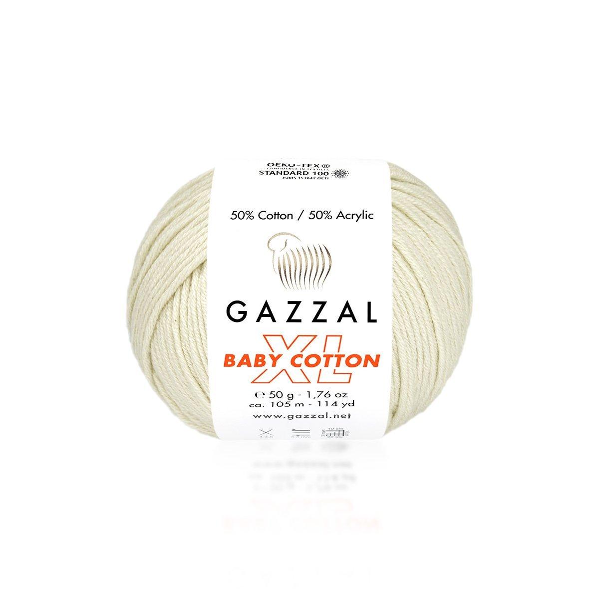 Пряжа Gazzal Baby Cotton XL 3437 экрю