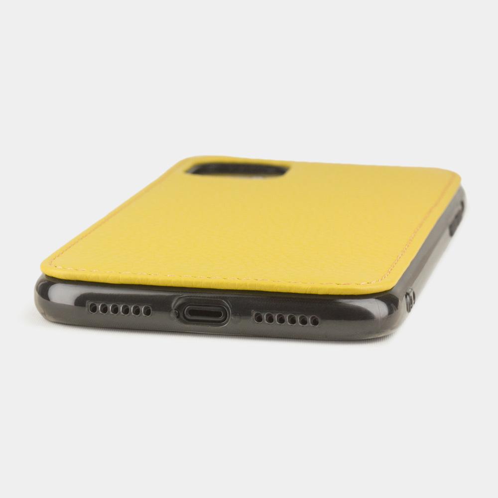 Чехол-накладка для iPhone 11 из натуральной кожи теленка, желтого цвета