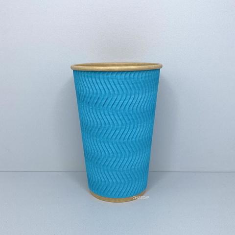 Стакан паперовий гофрований Ripple Wave Eco Craft 450 мл блакитний d90 (20 шт.)