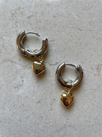Серьги Гриата, серебряный цвет и позолота