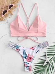 Купальник раздельный с лямками и шнуровкой сзади розовый цветочный принт 1