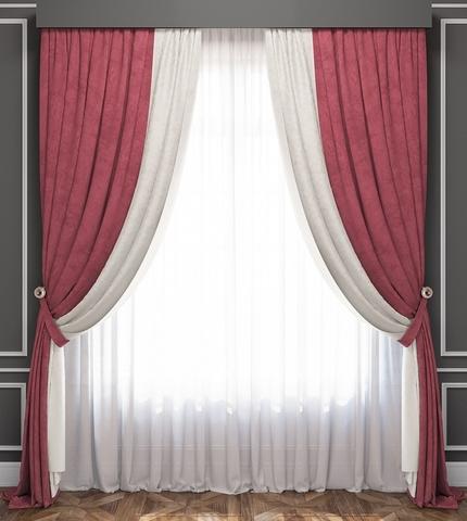 Комплект штор и покрывало Ламанш бело-розовый