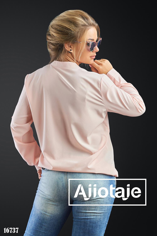 Блузка цвета пудра с регулируемой длиной рукава