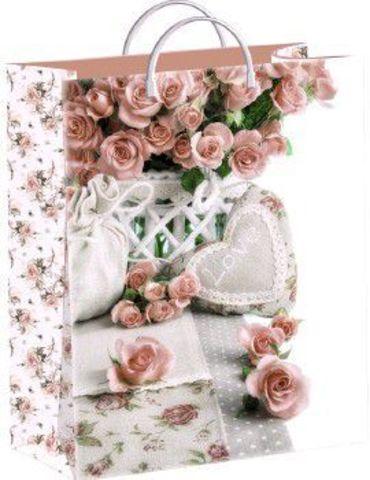 Подарочные пакеты 30х40+10 из мягкого пластика (Кремовые розы)