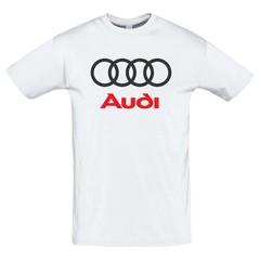 Футболка с принтом Ауди (Audi) белая