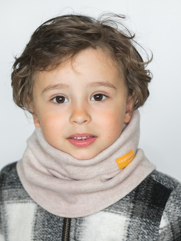 Детский снуд-горловинка из кашемира молочно-бежевый