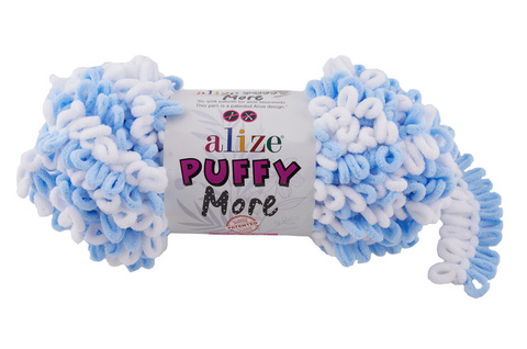 Купить Пряжа Пуффи Море цвет 6266 белый-голубой | Интернет-магазин пряжи «Пряха»