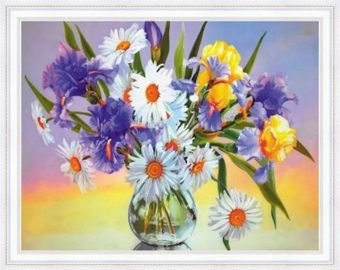 Алмазная Мозаика 40x50 Букет в вазе на цветном фоне (арт. SGA2725 )