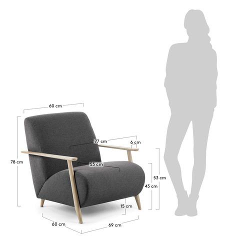 Кресло Marthan графитовое подлокотники светлые