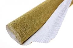 Бумага гофрированная металлизированная золото (801). 50см/250см